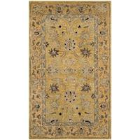 Safavieh Handmade Anatolia Oriental Golden Pear/ Smoke Hand-spun Wool Rug - 4' x 6'