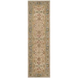 Safavieh Handmade Anatolia Oriental Ivory/ Blue Hand-spun Wool Rug (2'3 x 8')