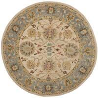 Safavieh Handmade Anatolia Oriental Ivory/ Blue Hand-spun Wool Rug - 6' Round