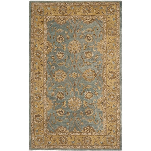 Safavieh Hand-made Anatolia Blue/ Green Wool Rug (4' x 6')