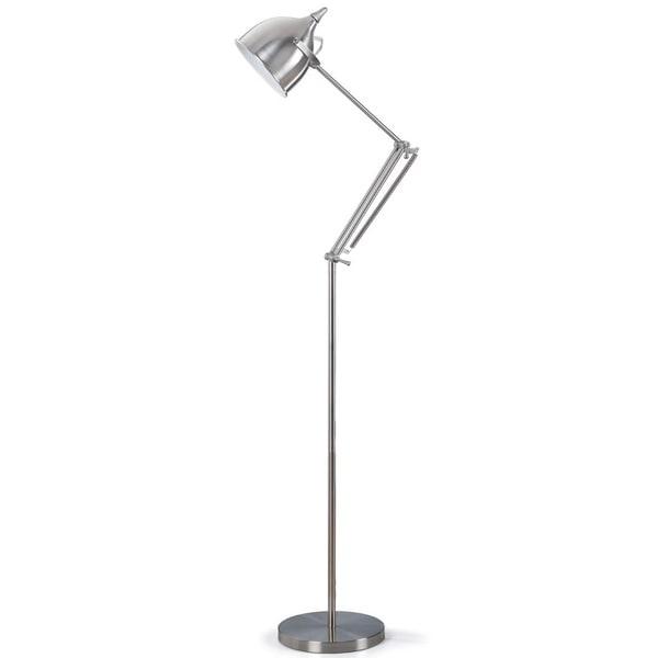 Artiva USA Silverado Contemporary 61-inch Brushed Steel Metal Floor Lamp with Adjustable Arm