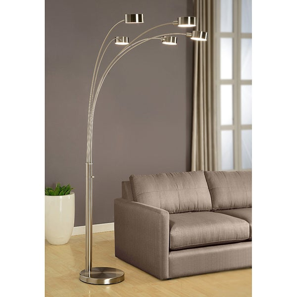 Artiva USA U0027Micahu0027 Modern Arched 88 Inch Brushed Steel 5 Light Floor Lamp    Free Shipping Today   Overstock.com   15403029