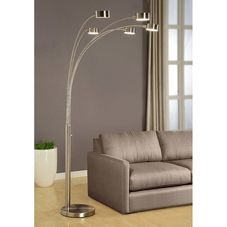 Strick & Bolton Charlie Modern Arched 88-inch Brushed Steel 5-light Floor Lamp