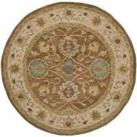 Safavieh Handmade Anatolia Oriental Brown/ Ivory Hand-spun Wool Rug - 6' Round