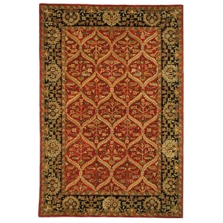 Safavieh Hand-made Anatolia Red/ Navy Wool Rug (5' x 8')