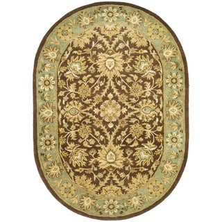 Safavieh Hand-made Antiquity Chocolate/ Blue Wool Rug (4'6 x 6'6 Oval)