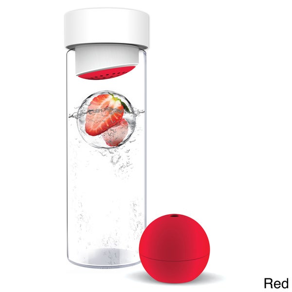Flavour-It Glass Water Bottle with Fruit Iceball Maker