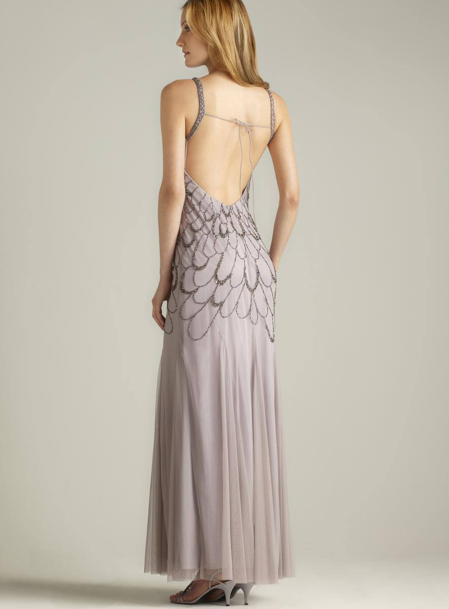 Adrianna Papell Low Tie Back Beaded Gown Free Shipping