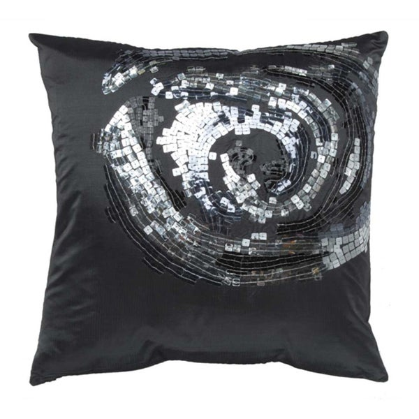 Sequined Rose Grey 16-inch Decorative Pillow