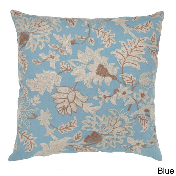 Hand-textured Floral 20-inch Decorative Pillow