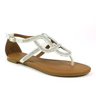Mark & Maddux Women's 'Paul-06' White Rhinestones Flat Sandals