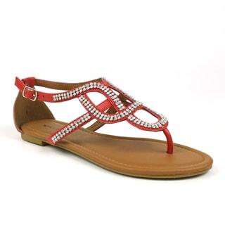Mark & Maddux Women's 'Paul-06' Red Rhinestones Flat Sandals
