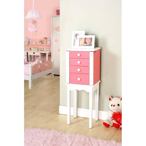 Pink and White Wood 3-drawer Jewelry Armoire