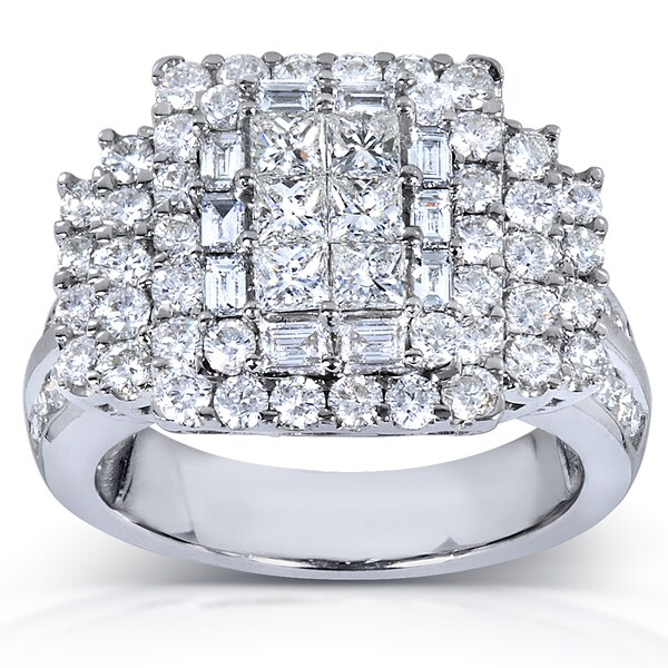 Annello by Kobelli 14k White Gold 2.5ct TDW Mixed Cut Diamond Pave Ring (H-I, I1-I2)