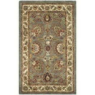 Safavieh Hand-made Classic Light Blue/ Ivory Wool Rug (2' 3 x 4')