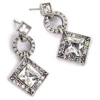 Sweet Romance Art Deco Diamond Harlequin Wedding Earrings