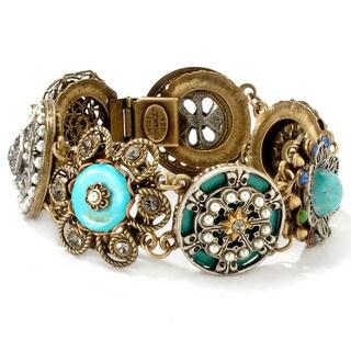 Sweet Romance Victorian Vintage Turquoise Pearls Enamel Concho Bracelet
