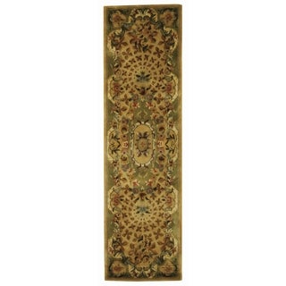 Safavieh Hand-made Classic Taupe/ Light Green Wool Rug (2'3 x 10')