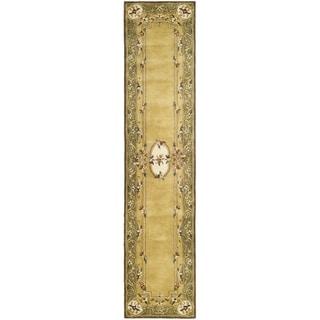 Safavieh Hand-made Classic Light Gold/ Green Wool Rug (2' 3 x 8')