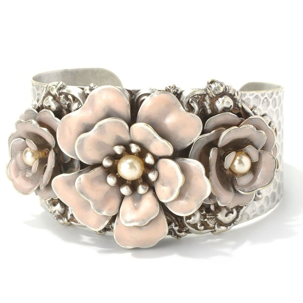 Sweet Romance Silvertone Pink Flower Cuff Bracelet