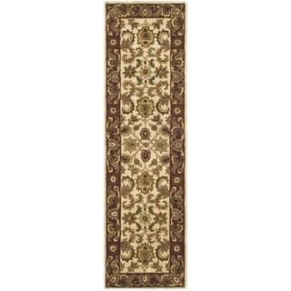 Safavieh Hand-made Classic Ivory/ Red Wool Rug (2'3 x 12')
