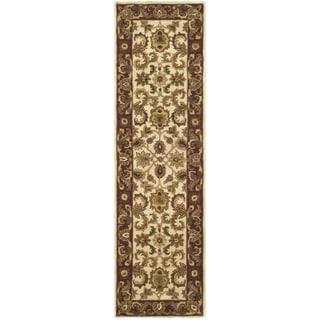 Safavieh Hand-made Classic Ivory/ Red Wool Rug (2'3 x 10')