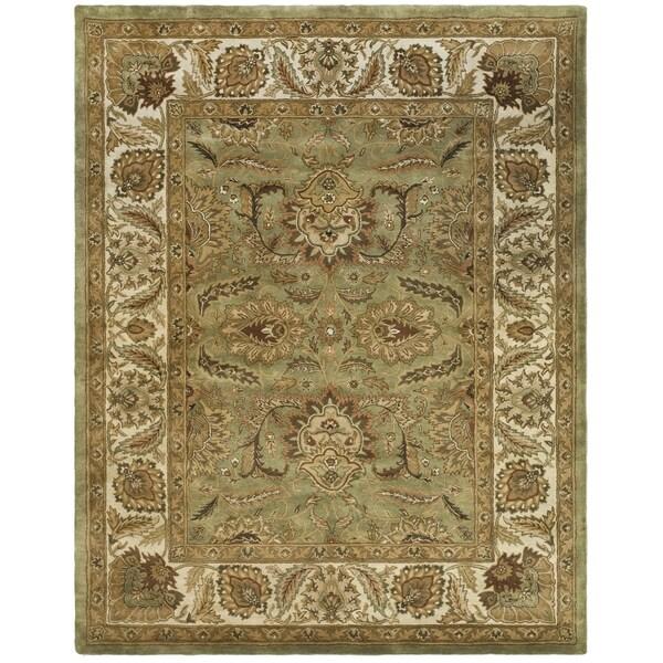 Safavieh Hand-made Classic Green/ Ivory Wool Rug - 8'3 x 11'