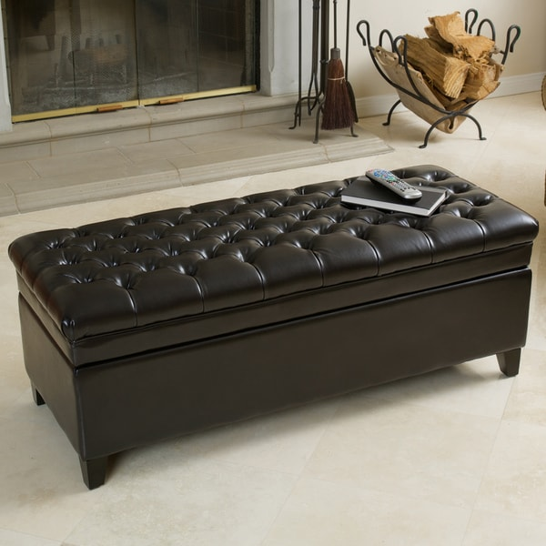 Hastings Tufted Espresso Bonded Leather Storage Ottoman by Christopher  Knight Home - Hastings Tufted Espresso Bonded Leather Storage Ottoman By