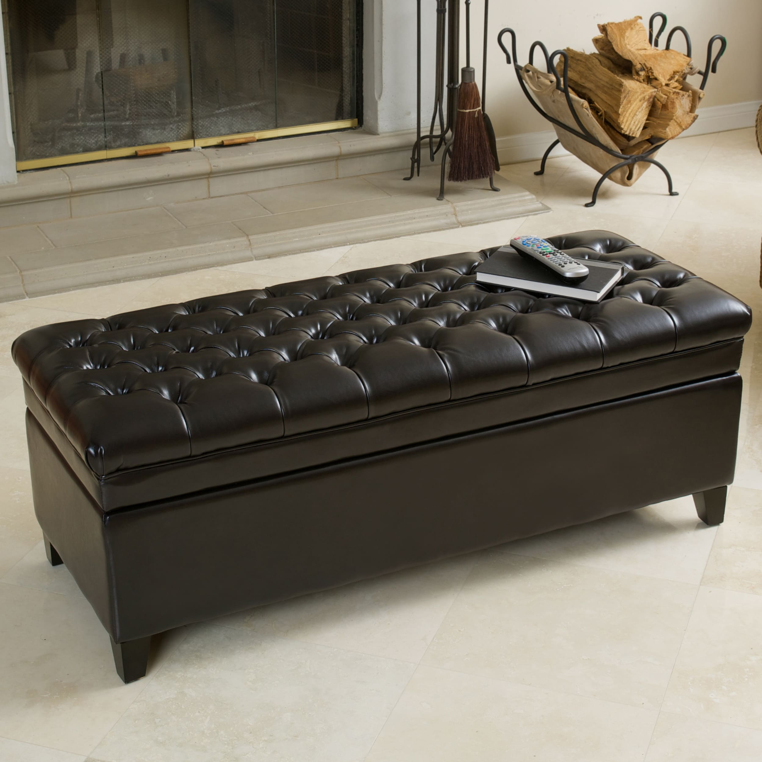 Hastings Tufted Espresso Bonded Leather Storage Ottoman b...