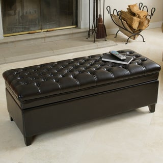 Hastings Tufted Espresso Bonded Leather Storage Ottoman by Christopher Knight Home