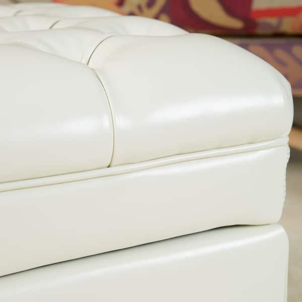 Brilliant Shop Hastings Tufted Ivory Leather Storage Ottoman By Pdpeps Interior Chair Design Pdpepsorg