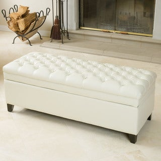 Hastings Tufted Ivory Leather Storage Ottoman by Christopher Knight Home