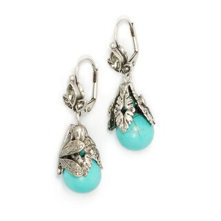 Sweet Romance Silver Dragonfly Turquoise Earrings