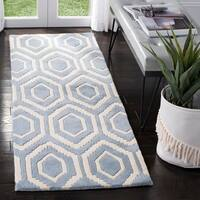 "Safavieh Handmade Moroccan Chatham Blue/ Ivory Wool Rug - 2'3"" x 11'"