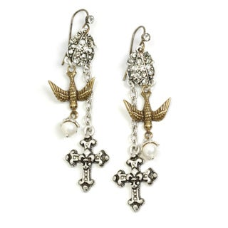 Sweet Romance Bird and Cross Crystal Vintage Earrings