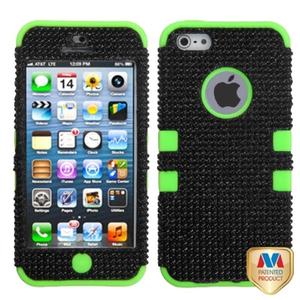 INSTEN Black/ Green Diamante Tuff Hybrid Phone Case Cover for Apple iPhone 5