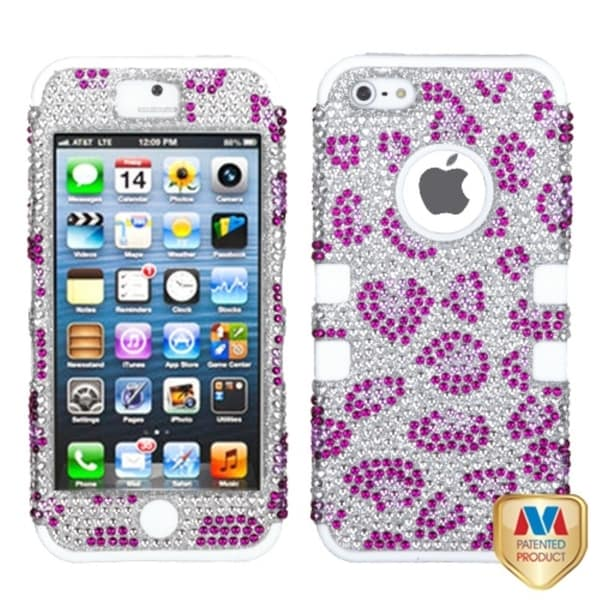 BasAcc Purple/ White Leopard Skin Hybrid Case For Apple® iPhone 5