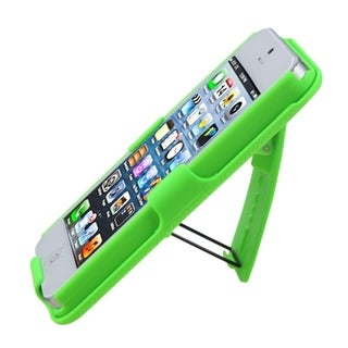 INSTEN Green Rubberized Hybrid Holster for Apple iPhone 5/ 5S/ SE
