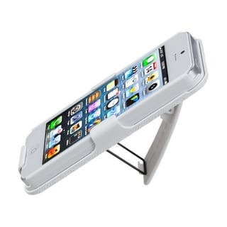 INSTEN Solid Ivory White Rubberized Hybrid Holster for Apple iPhone 5/ 5S/ SE