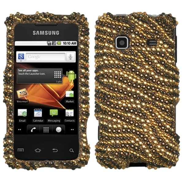 best service 6c21d 09696 INSTEN Tiger Skin Camel Diamante Phone Case Cover for Samsung M820 Galaxy  Prevail