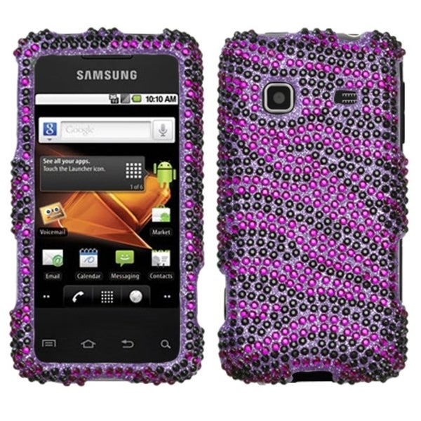INSTEN Purple/ Black Diamante Phone Case Cover for Samsung M820 Galaxy Prevail