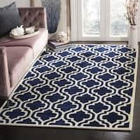 Safavieh Handmade Moroccan Chatham Dark Blue/ Ivory Wool Rug - 5' x 5' square