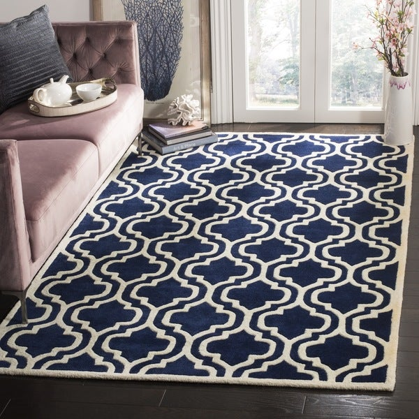 Safavieh Moroccan Blue And Black Area Rug: Safavieh Handmade Moroccan Chatham Trellis-pattern Dark