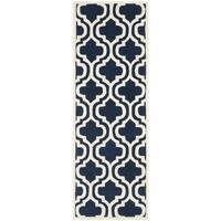 Safavieh Handmade Moroccan Chatham Dark Blue/ Ivory Wool Rug - 2'3 x 9'