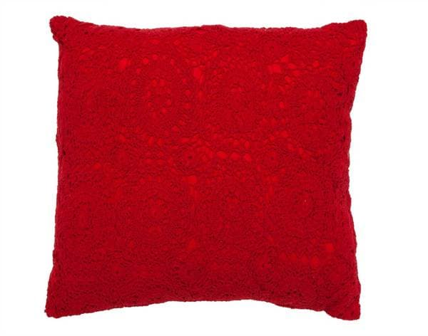 Red Crochet Pillow Decorative 16-inch Pillow