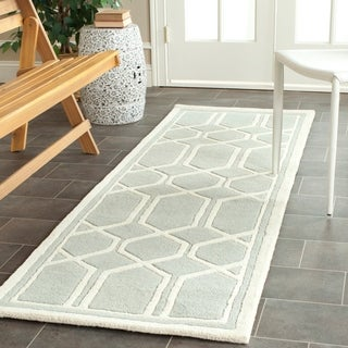 Safavieh Handmade Moroccan Chatham Collection Gray/ Ivory Wool Rug (2'3 x 9')