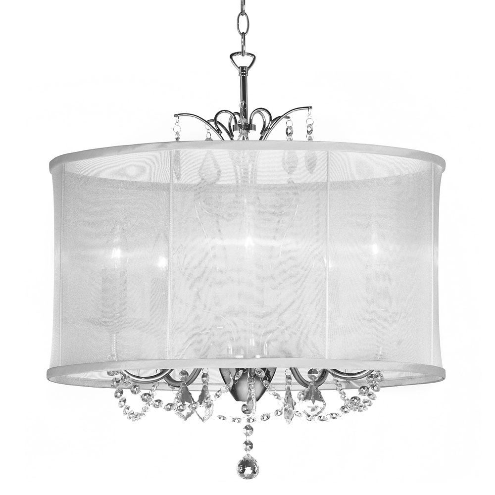 Silk Drum Shade 5 Light Crystal Chandelier