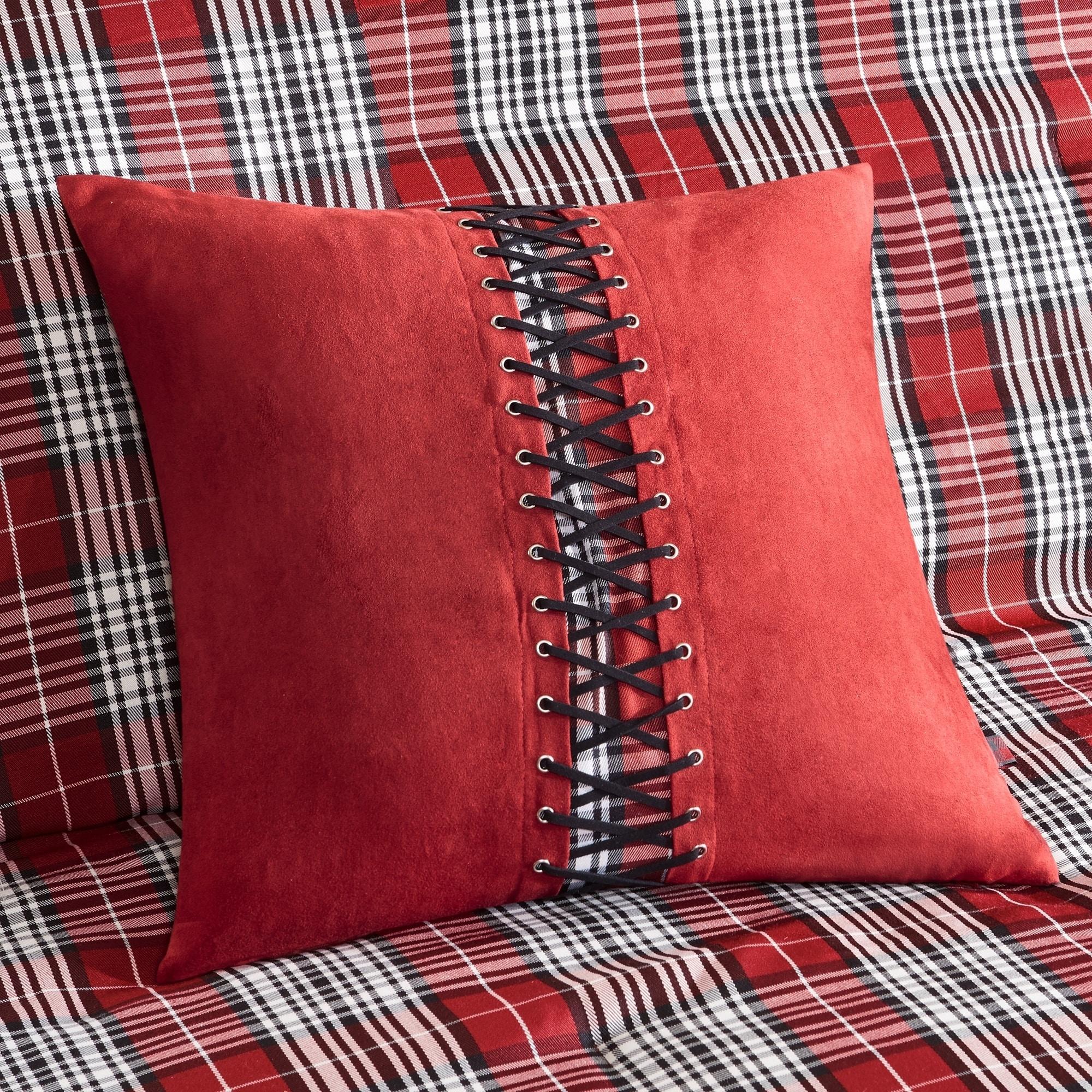 MODERN CLASSIC GREY RED WHITE SPORT PLAID STRIPE SOFT COMFORTER SET