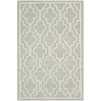 Safavieh Handmade Moroccan Canvas-backed Chatham Grey/Ivory Wool Rug - 3' x 5'