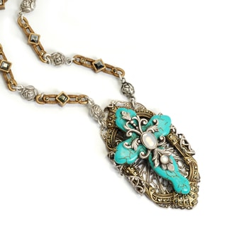 Sweet Romance Victorian Turquoise Cross Necklace